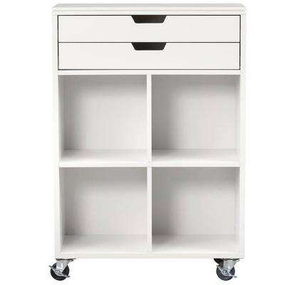 Avery 4-Cube MDF Mobile Cart in White