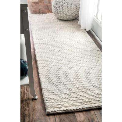 Chunky Woolen Cable Off White 3 ft. x 8 ft. Runner Rug