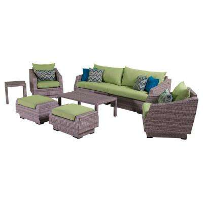 Cannes 8-Piece Patio Sofa and Club Chair Seating Group with Ginkgo Green Cushions