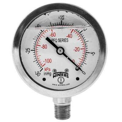 PFQ Series 2.5 in. Stainless Steel Liquid Filled Case Pressure Gauge with 1/4 in. NPT LM and Range of 30 in. Hg Vac/kPa