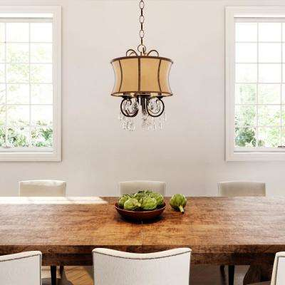 Annelise 3-Light Bronze Chandelier with Fabric Shade and Crystal Drop Accents