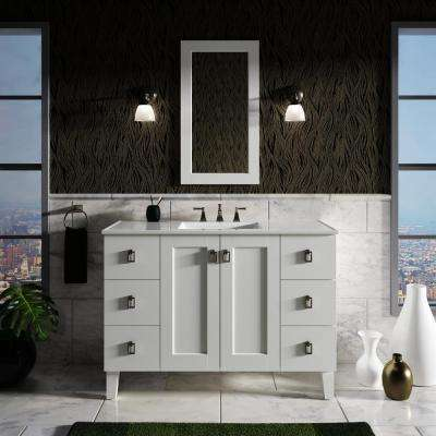 Poplin 48 in. Vanity in Linen White with Vitreous China Vanity Top in White