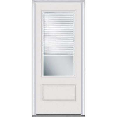36 in. x 80 in. RLB Right-Hand 3/4 Lite 1-Panel Classic Primed Fiberglass Smooth Prehung Front Door