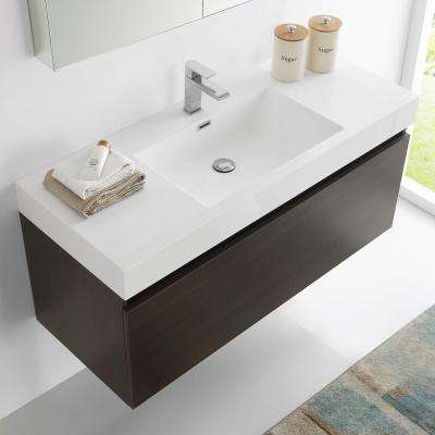 Mezzo 48 in. Vanity in Gray Oak with Acrylic Vanity Top in White with White Basin and Mirrored Medicine Cabinet