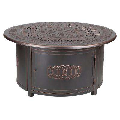 19.34 in. Dynasty Round Cast Aluminum LPG Fire Pit