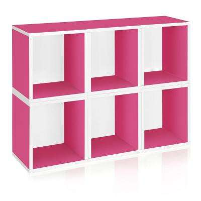 Valencia 6 Cubes Stackable Modular Cubby Organizer, Tool-Free Assembly Modular Storage Cubes in Pink