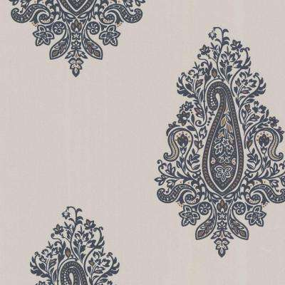 56 sq. ft. Dynasty Charcoal Black Paisley Wallpaper
