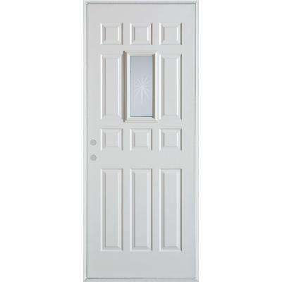 36 in. x 80 in. V-Groove Rectangular Lite 12-Panel Prefinished White Right-Hand Inswing Steel Prehung Front Door