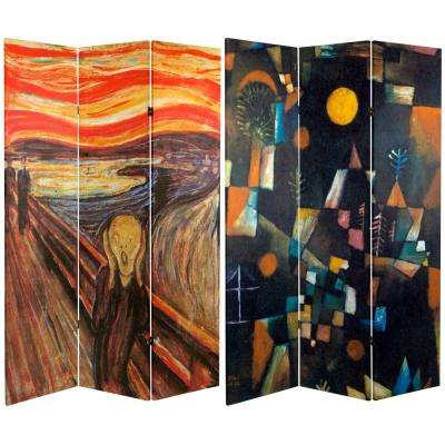 "Oriental Furniture 6 ft. x 4 ft. 3-Panel Double Sided ""The Scream"" Canvas Room Divider"