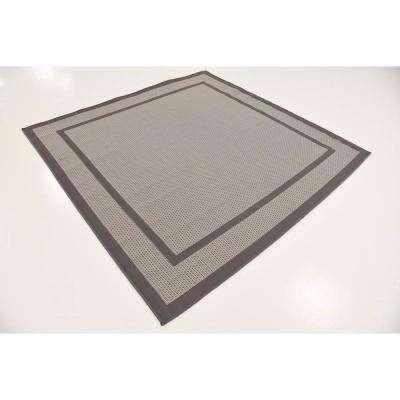 Outdoor Border Dark Gray 6' 0 x 6' 0 Square Rug
