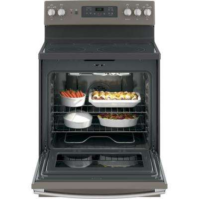 30 in. 5.3 cu. ft. Electric Range with Self-Cleaning Convection Oven in Slate, Fingerprint Resistant