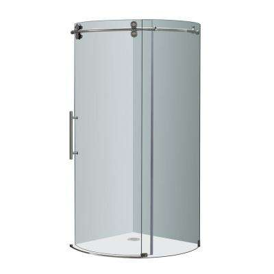 Orbitus 40 in. x 40 in. x 75 in. Completely Frameless Round Shower Enclosure in Stainless Steel with Left Opening