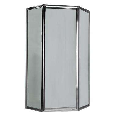 Prestige 24.1 in. x 68.5 in. Height Neo-Angle Shower Door in Silver and Clear Glass