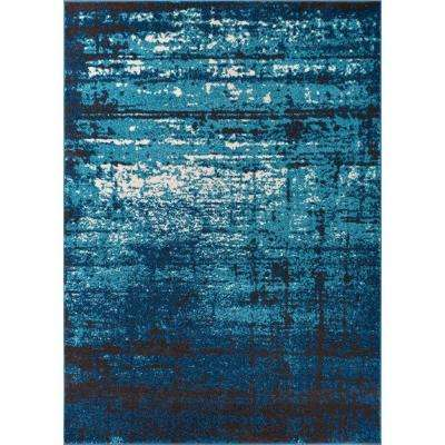 Sydney Vintage Crosby Blue 7 ft. 10 in. x 10 ft. 6 in. Modern Distressed Area Rug
