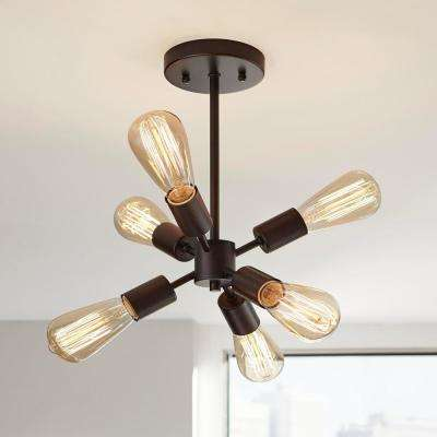 6-Light Bronze Sputnik Semi-Flush Mount