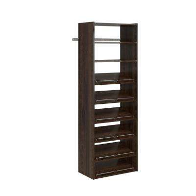 14 in. D x 25.125 in. W x 72 in. H Espresso Wood Essential Shoe Closet System Tower Kit