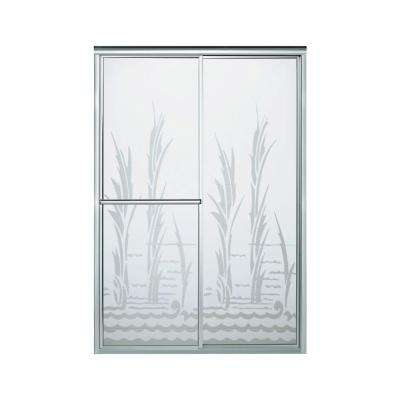 Deluxe 59-3/8 in. x 70 in. Framed Sliding Shower Door in Silver with Creekside Glass Pattern