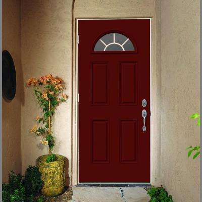 36 in. x 80 in. Fan Lite Mesa Red Painted Steel Prehung Right-Hand Outswing Front Door w/Brickmould