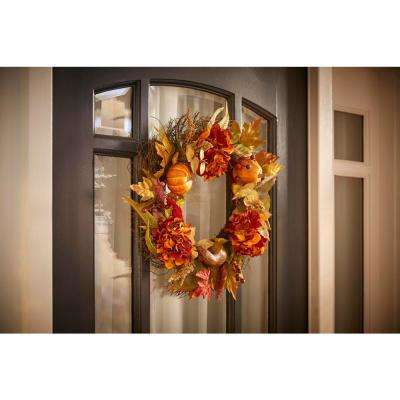 22 in. Hydrangea and Pumpkin Wreath