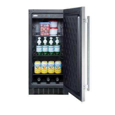 15 in. 3 cu. ft. Outdoor Refrigerator in Stainless Steel/Black