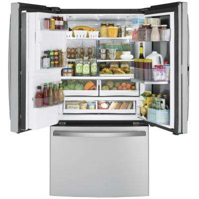 Profile 27.7 cu. ft. French Door Refrigerator with Hands Free Autofill in Fingerprint Resistant Stainless Steel