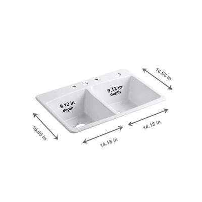 Brookfield Drop-In Cast-Iron 33 in. 4-Hole Double Bowl Kitchen Sink in White