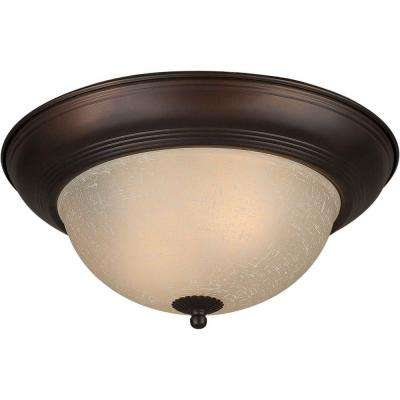 2-Light Antique Bronze Flushmount with Umber Linen Glass