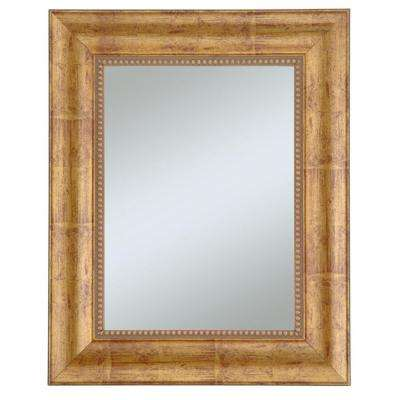 Lorrain 30 in. x 36 in. Gold with Red Undertones Framed Wall Mirror with Beads