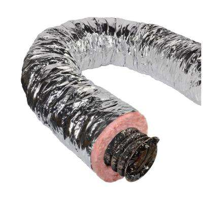 9 in. x 25 ft. Insulated Flexible Duct R8 Silver Jacket