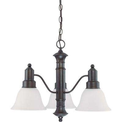 3-Light Mahogany Bronze Chandelier with Frosted White Glass Shade