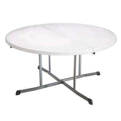 60 in. White Granite Round Commercial Fold-In-Half Table