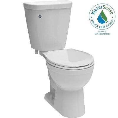 Brevard 2-piece 1.28 GPF Round Toilet in White with FlushIQ
