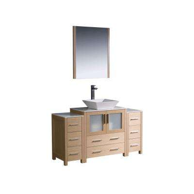 vanity in light oak with glass stone vanity top in white with