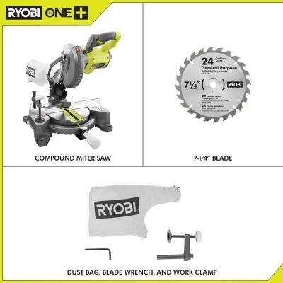 18-Volt ONE+ Cordless 7-1/4 in. Compound Miter Saw (Tool Only) with Blade and Blade Wrench