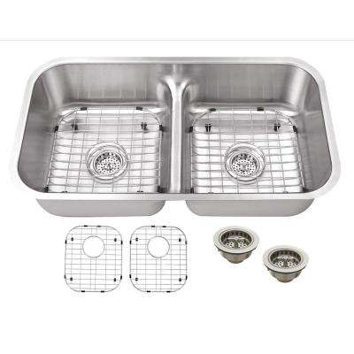 Undermount 33 in. 18 Gauge Stainless Steel Kitchen Sink in Brushed Stainless