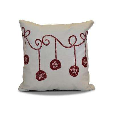 16 in. Sanddollar Ornaments Holiday Red Pillow