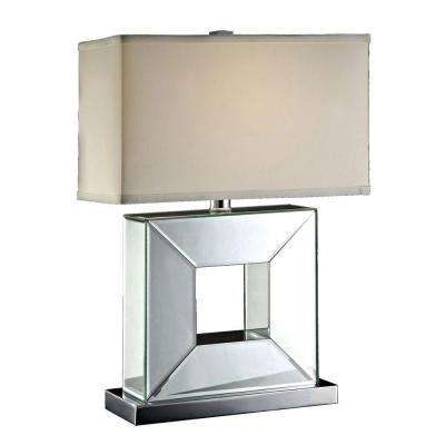 24.25 in. Chrome Metal Square Mirrored Table Lamp-DISCONTINUED