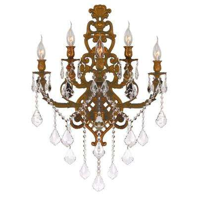 Versailles 5-Light French Gold and Clear Crystal Wall Sconce Light