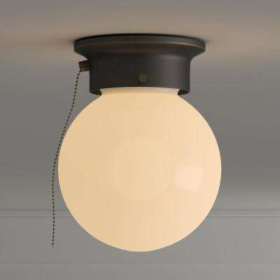 1-Light Oil Rubbed Bronze Ceiling Light with Opal Glass and Pull Chain