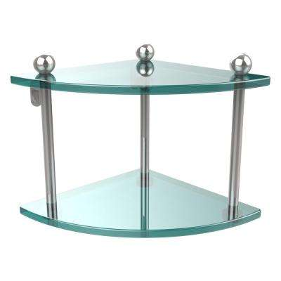 8 in. L  x 8 in. H  x 8 in. W 2-Tier Coner Clear Glass Vanity Bathroom Shelf in Polished Chrome