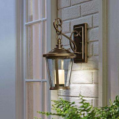 Bellingham Oil-Rubbed Bronze LED Outdoor Wall Lantern Sconce with Clear Glass and Amber Glass Candle
