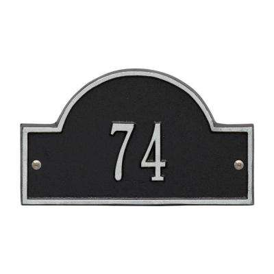 Arch Marker Petite Black/Silver Wall 1-Line Address Plaque