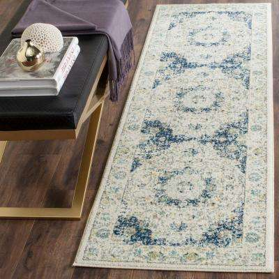 Evoke Ivory/Blue 2 ft. x 19 ft. Runner Rug
