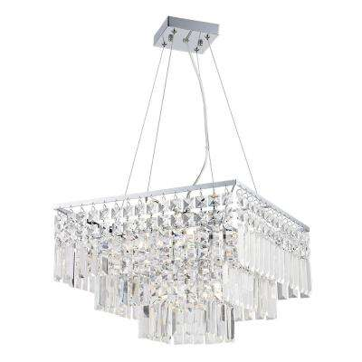 5-Light Polished Chrome Chandelier with Crystal Shade