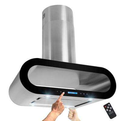 36 in. 400 CFM Ducted Island Mount Kitchen Range Hood in Stainless Steel with Lights and Remote
