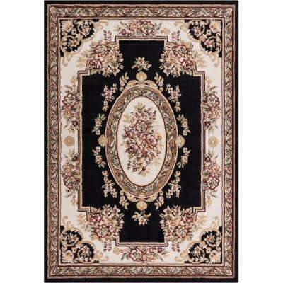 Miami Medallion Centre Black 3 ft. 3 in. x 5 ft. 3 in. Traditional Area Rug