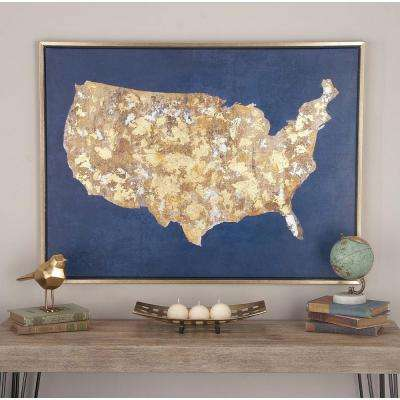 "29 in. x 39 in. ""USA Land Mass"" Framed Canvas Wall Art"