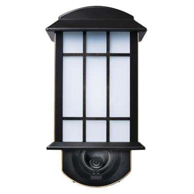 Craftsman Oil Rubbed Bronze Motion Activated Smart Security Outdoor Metal and Glass Wall Mount Lantern