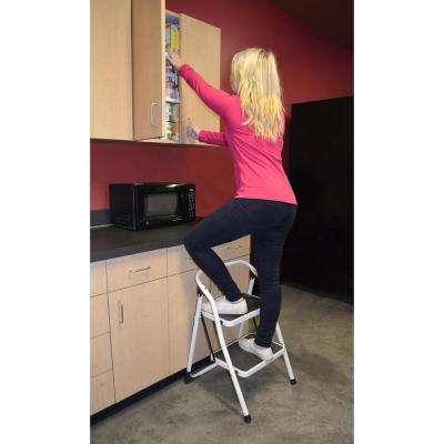 2-Step Metal Folding Mini Step Ladder with 1-Step Folding Mini Step Stool