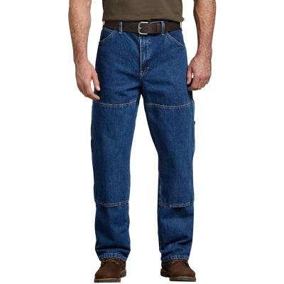 Men's Stonewashed Indigo Blue Relaxed Fit Double Knee Carpenter Denim Jean